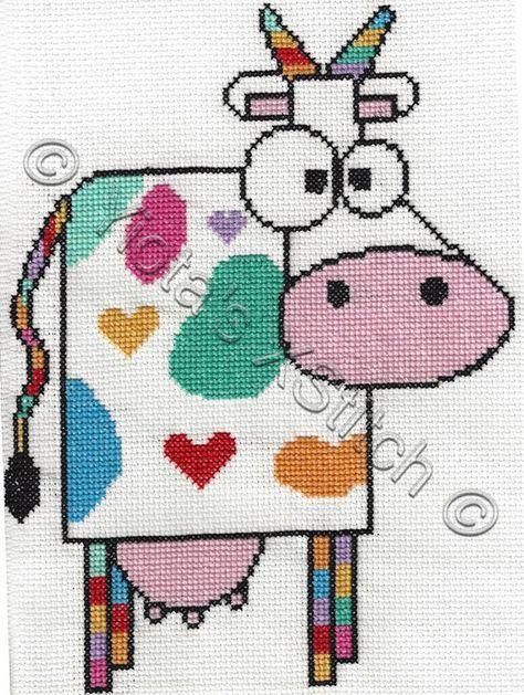 Cow free cross stitch pattern | Σελιδοδείκτες | Cross Stitch