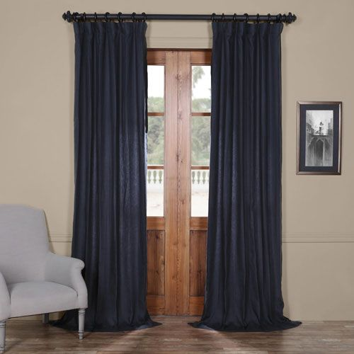 French Navy 108 X 50 In Linen Curtain Panel Panel Curtains
