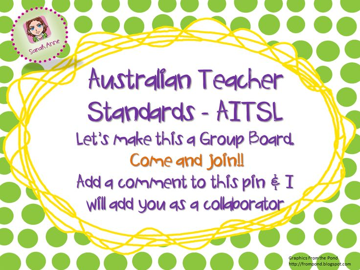 COME AND JOIN! Let's make this an active Aussie Teacher Standards Collaborative Group Board. Add a comment to this pin and I will send you an invitation to join this board as a collaborator. This will be an efficient (and fun) way for us to gather ideas, resources, inspiration, tips and tricks to understand and address the new Australian Teacher Professional Standard. http://pinterest.com/sarahanneinoz/australian-teacher-standards-aitsl/