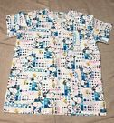 Peanuts Snoopy Scrubs Top Size Small Woodstock Blue Pink Polka Dots Nurse Dr on eBay for $14.99