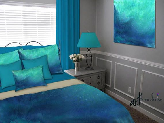 Contemporary duvet cover and bedding set featuring abstract art by Denise Cunniff. Colors include shades of teal blue, aqua, and turquoise. View more info at https://www.etsy.com/listing/542612901