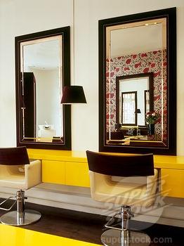 Salon interior yellow salon ideas pinterest for Interior stylist london