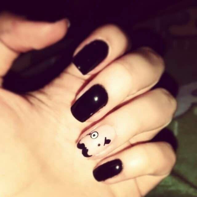 #Black #Mustache #Nails #Nailart