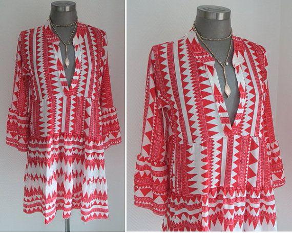 huge discount f29ed 7d3db ethno ikat boho tunika rot weiss Sommer Kleid knielang super ...