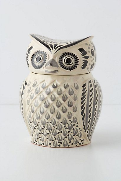As if I had any room on my counter-top, but it's so cool! Handpainted Folk Owl Cookie Jar #anthropologie