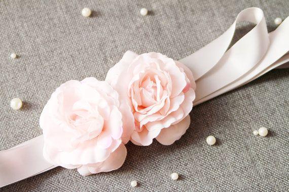Pink Flowers Sash Belt - Bridal Wedding Dress Sashes Belts - Pale Pink Floral Ribbon Sash Belt