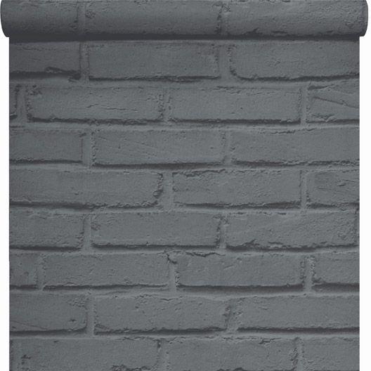 Papier peint sur papier INSPIRE Brique loft, gris, larg. 0.53 m