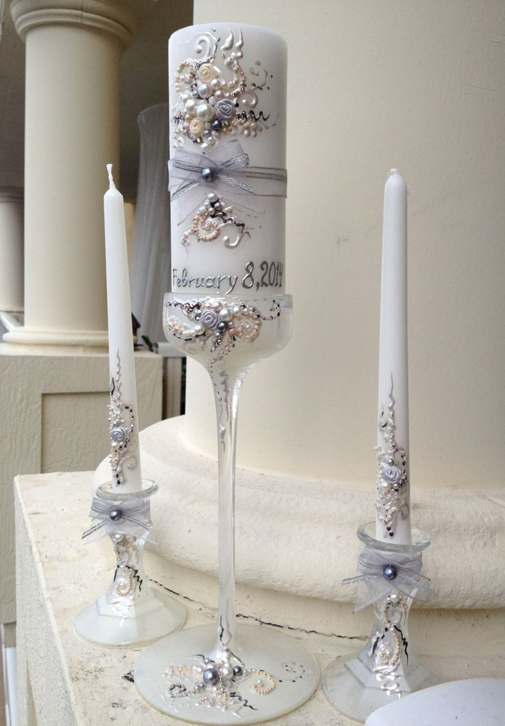 Beautiful wedding unity candle set - 3 candles and 3 glass candleholders in ivory, blush and grey silver, wedding reception, unity ceremony by PureBeautyArt on Etsy https://www.etsy.com/listing/63732443/beautiful-wedding-unity-candle-set-3
