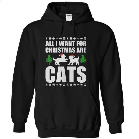 All I Want For Christmas Are Cats - #sweat shirts #unique t shirts. PURCHASE NOW => https://www.sunfrog.com/Christmas/All-I-Want-For-Christmas-Are-Cats-Black-Hoodie.html?60505