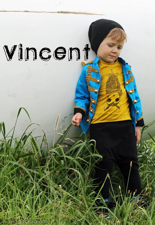 Vincent: Sgt Pepper's style military jacket with patchwork lining, hand-drawn bat(man) tee, ninja pants with Lego pockets & a slouch beanie