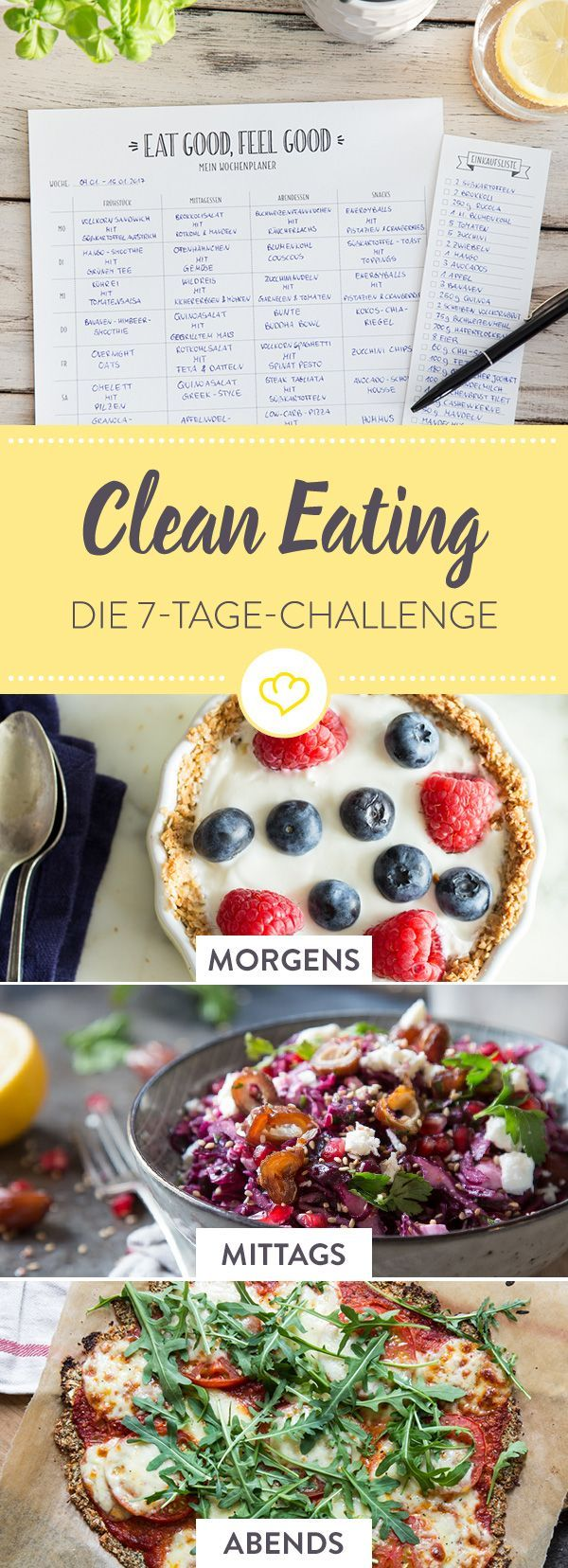 Du möchtest dich gesünder ernähren? Ohne Fast Food, Zucker und künstliche Zusätze? Mit diesem alltagstauglichen 7-Tage Clean Eating Plan packst du es!