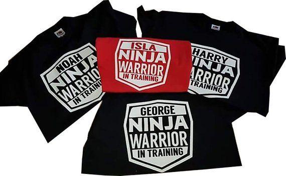 f589e0421cf879 Personalised Ninja in training Black Tshirt. Ninja Warrior, Custom Gift