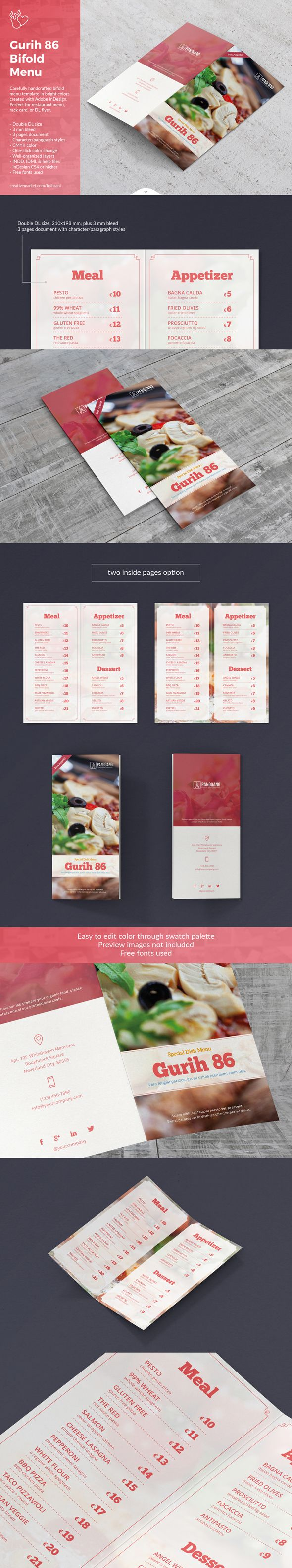 Carefully handcrafted bifold menu template in bright colors created with Adobe InDesign. Available with character/paragraph styles. Perfect to combined with Gurih 86 Cookbook [crmrkt.com/JXGgR].