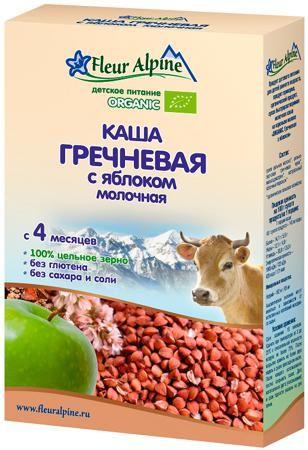 Fleur Alpine Молочная гречневая с яблоком (с 4 месяцев) 200 г  — 298р.  Каша молочная Fleur Alpine Organic гречневая с яблоком с 4 мес. 200 г. Рекомендуется в качестве первого зернового прикорма. Гречневая каша – кладезь витаминов и минералов. В состав крупы входят необходимые для полноценного функционирования организма вещества. Гречневая каша полезна не только благодаря сбалансированному составу, но и высокой питательной ценности. В составе гречки имеются растительные белки, они легко…
