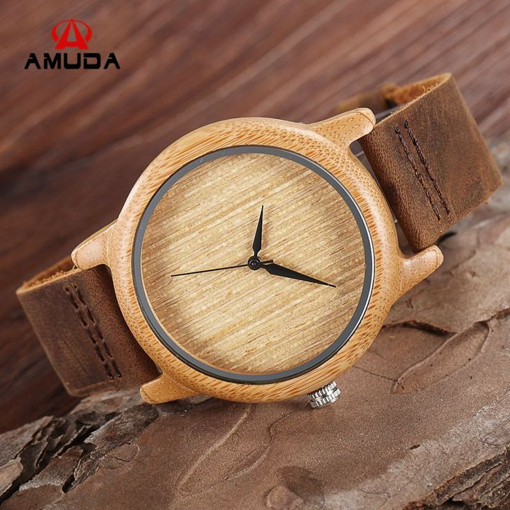 2016 Fashion Japan Movement Bamboo Wooden Wristwatches Simple Dial Genuine Leather Wood Watch With Box Unisex Christmas Gifts-in Quartz Watches from Watches on Aliexpress.com | Alibaba Group