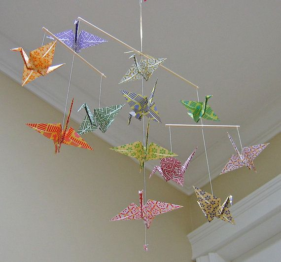 Sale  Origami Crane Mobile  Colourful Chiyogami Print by MadeByJo, $25.00