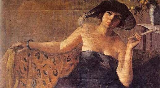 İbrahim Çallı: Oturan Kadın. Tuval uzerine yagliboya. 57×97 cm. Istanbul resim ve heykel muzesi