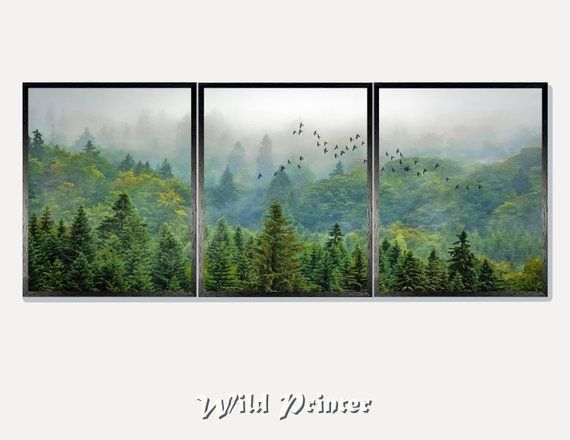 GREEN WOODLAND TREES LANDSCAPE PAINTING ART PRINT Home Decor Nature Wall Picture