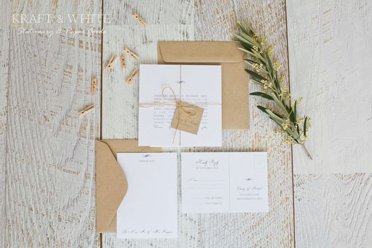 Deposit for wedding invitation set SUITE 5: White simplistic natural twine organic wedding invitation suite, white rustic wedding stationery. $100.00, via Etsy.