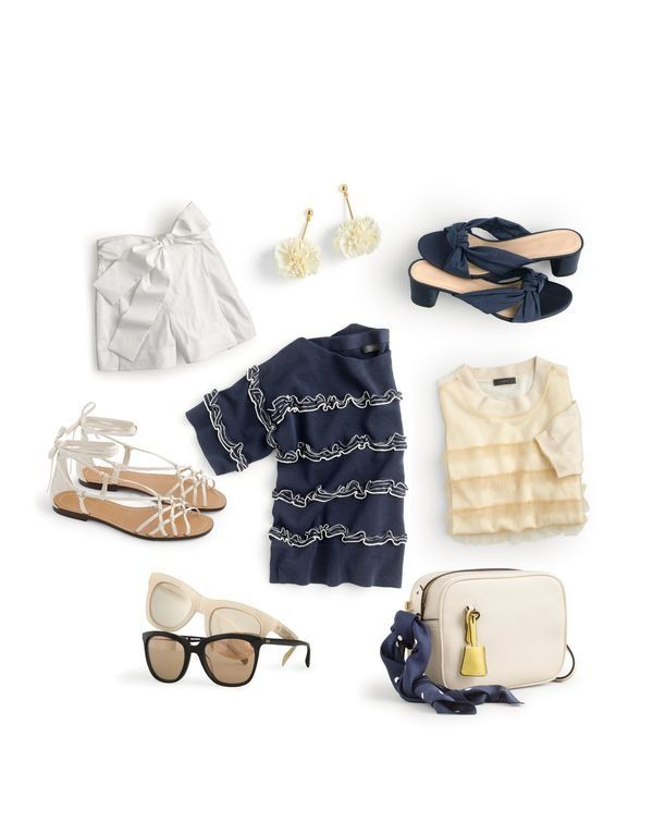 J.Crew women's tie-waist short, dandelion drop earrings, knotted slides in silk faille, knotted sandals, ruffle boatneck striped sweater, Tippi tulle ruffle sweater, Betty sunglasses, Franny sunglasses and signet bag.