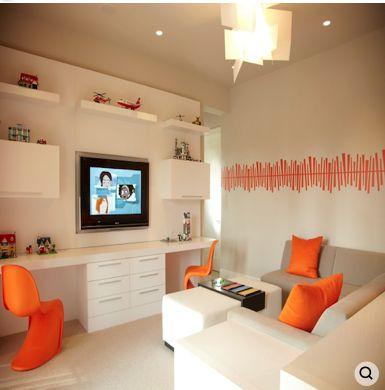 B + G Design- Modern Boys Room Decor - Floating Shelves