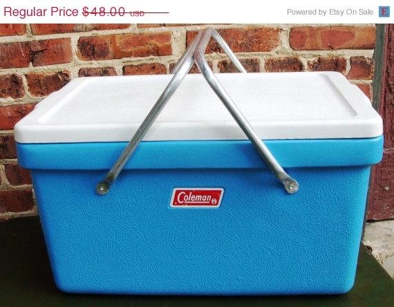 ON SALE Vintage Coleman Picnic Cooler Sky Blue with ...