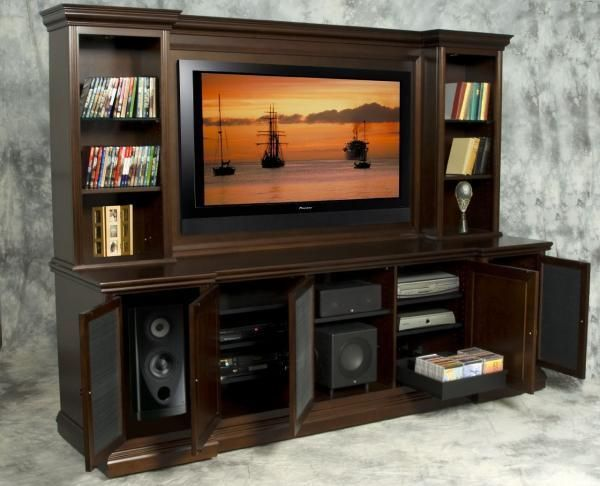 Custom Made Espresso Birch Recessed Media Center Diy Furniture Projects In 2019 Built In Entertainment Center Entertainment Center Media Center