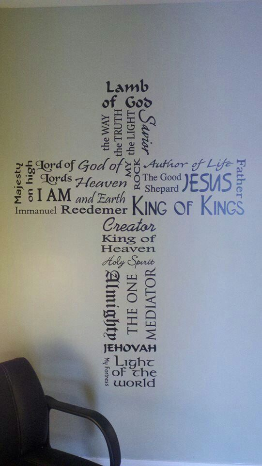 Names of GOD arranged in a cross shape. I think I'd rather have it on canvas than directly on the wall