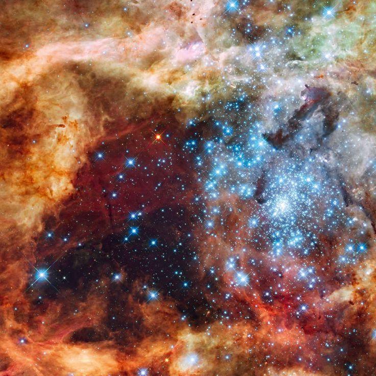 Der Tarantelnebel gilt als einer der hellsten Nebel in der Umgebung der Erde. Der gezeigte Bereich hat einen Durchmesser von ungefähr 100 Lichtjahren und zeigt Sterne, die zwischen 2 und 25 Millionen Jahre alt sind. (Erstellt aus Daten, die das Hubble-Weltraumteleskop 2009 aufgenommen hat.)