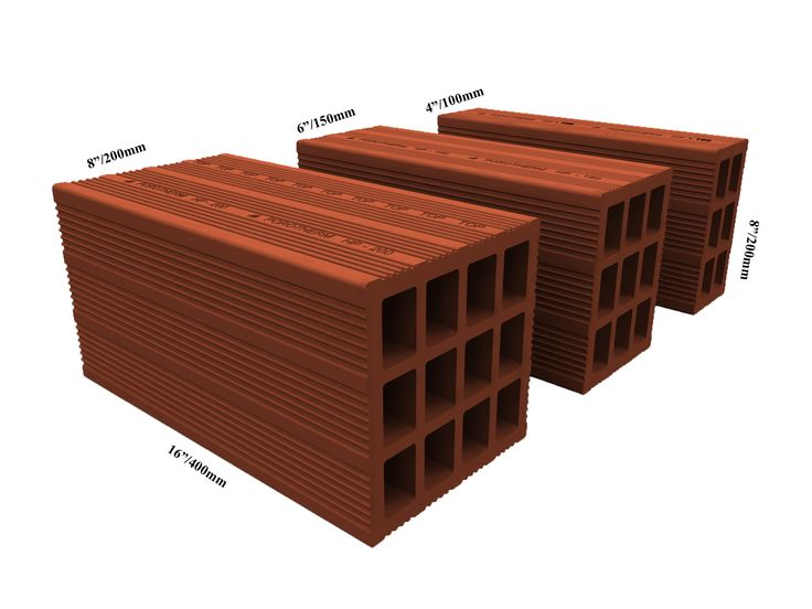 Porotherm Clay Bricks come in 3 sizes along with half bricks:  L X W X H                     Weight(Kg)  400 x 200 x 200 mm     11.1  400 x 150 x 200 mm      8.8  400 x 100 x 200 mm      6.3