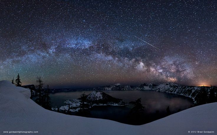 Lyrid Meteor over Crater Lake