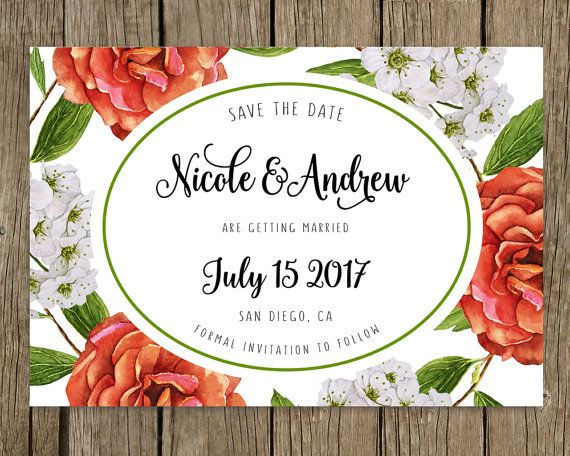Wedding announcement, Custom template, Personalized, SAVE THE DATE, Watercolor spring flowers, Red rose, Save the date elegant, Wedding card