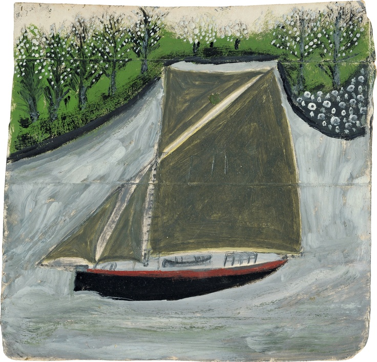 'Sailing ship and orchard' (c.1935-37) by Alfred Wallis (1855-1942). Oil on cardboard,  211 x 218 mm. via Fitzmuseum