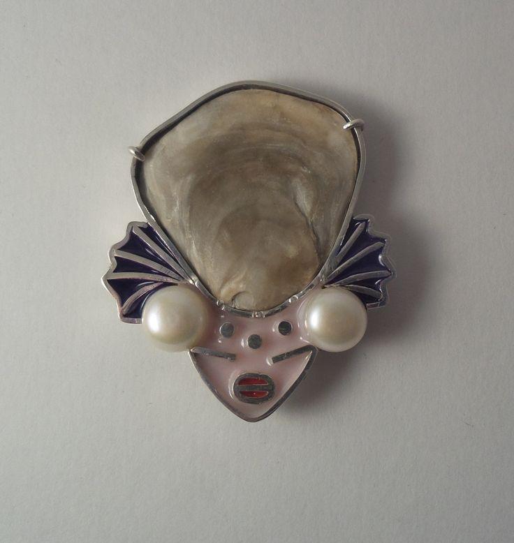 """Alexandra Astafeva. Silver Brooch """"Mermaid"""". Pearls. Cockleshell. Enamel."""