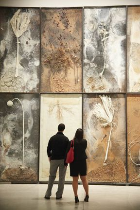 Anselm Kiefer. A high resolution photo of any interesting stone, printed on high gloss stretch ceiling would be virtually indistinguishable from the real thing until you touch it! www.laqfoil.com/