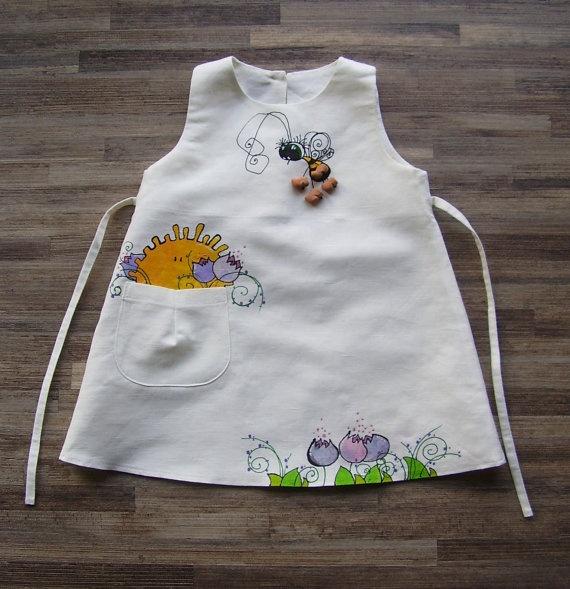 Girls white linen dress  painted dress  unit work  by InGAartWork, $44.00