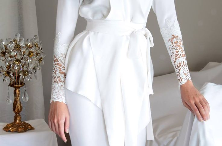 Alia Bastamam Raya 2014 Signature wrap top with lace cuffs, worn with a mermaid-cut skirt - all in crepe silk. Made-to-measure only.