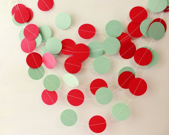 Wedding Garland Mint Green & Red Circle Paper by MailboxHappiness