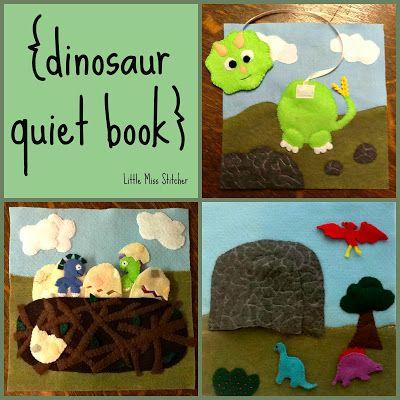 Quiet Book Round Up {2013} Dinosaur quiet book pages.