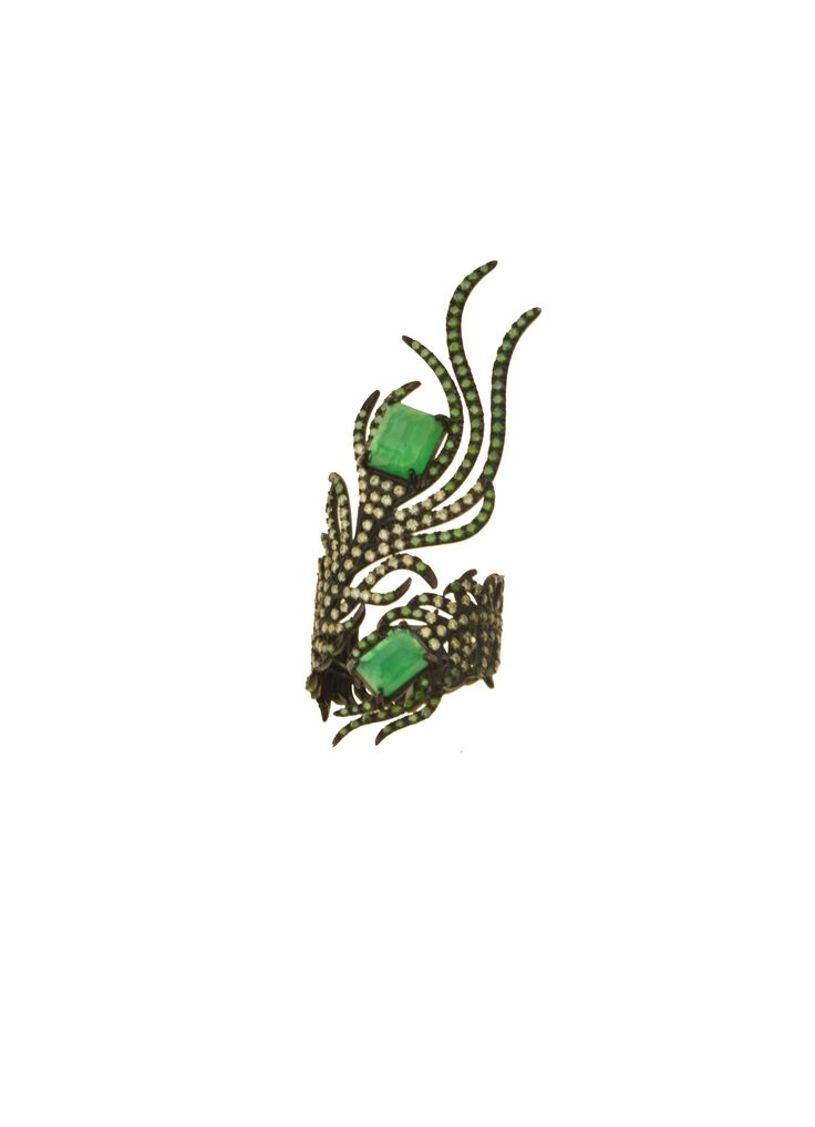 Gold K18 Multicolor Diamonds & Emeralds