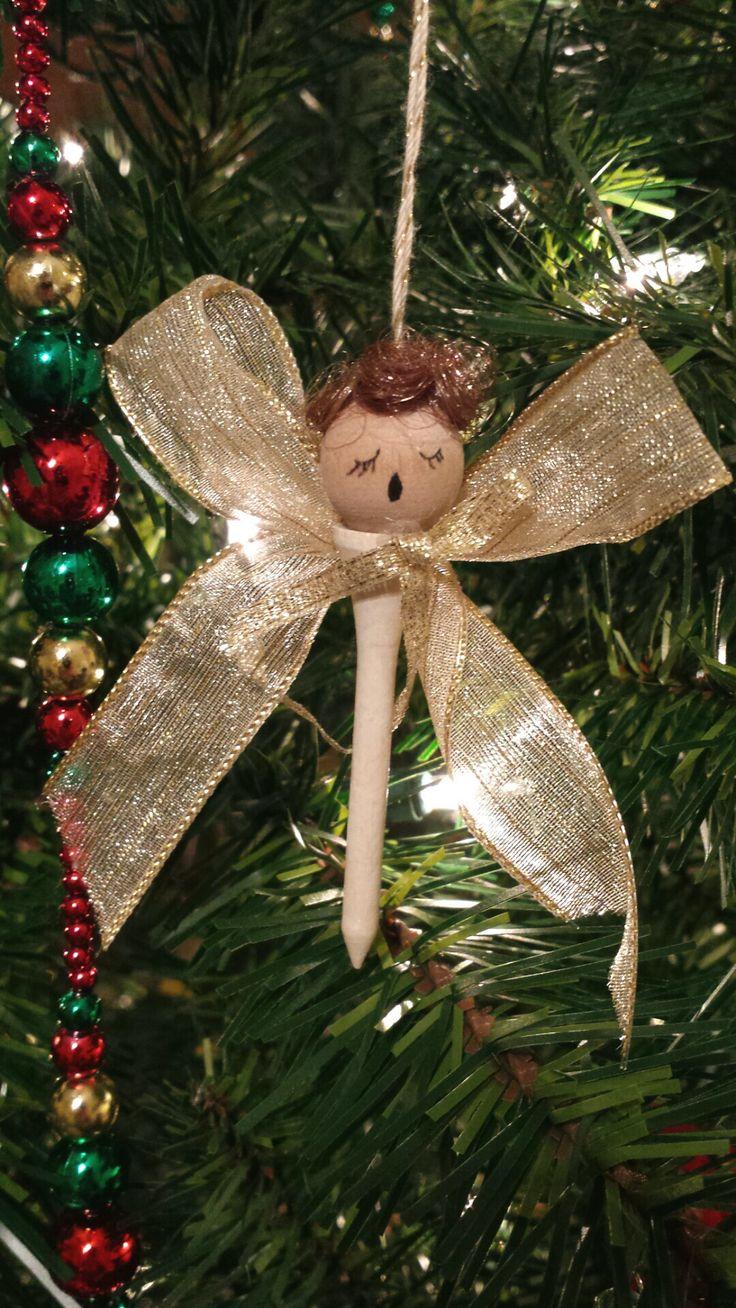Golf tee Christmas angel ornament