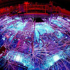 The intense electrical discharge of New Mexico's Sandia National Laboratories' Z-machine is used in attempts to trigger nuclear fusion.
