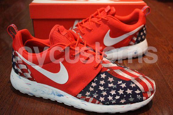 ... men sizes 6 9 13 nike roshe run red marble american flag pride v5  edition custom