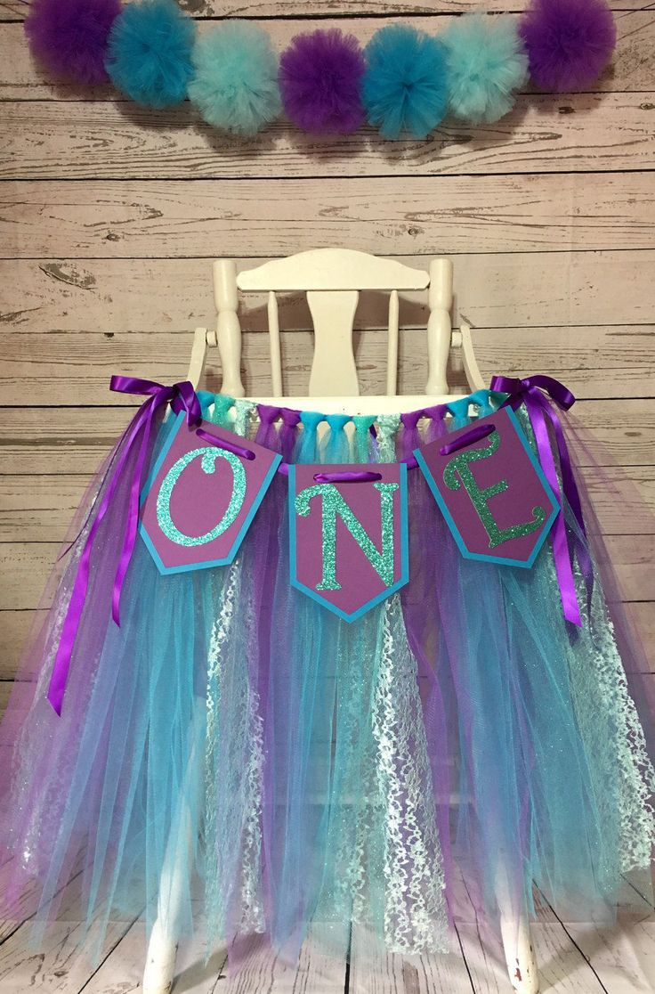 Turquoise and Purple  High Chair Tutu - Mermaid tutu - Highchair Skirt- Smash Cake - High Chair Banner - Girls First Birthday- Tulle Skirt by AvaryMaeInspirations on Etsy