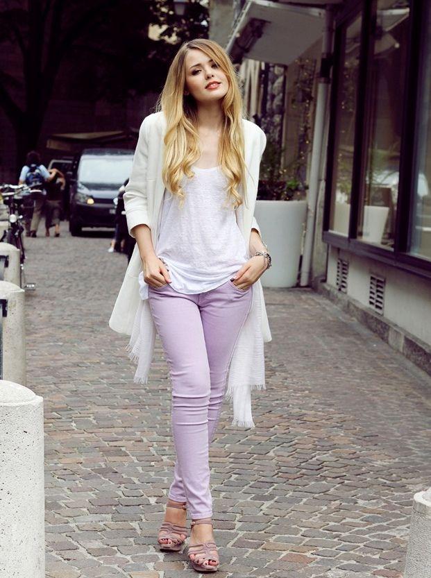 white top lavender jeans                                                       …