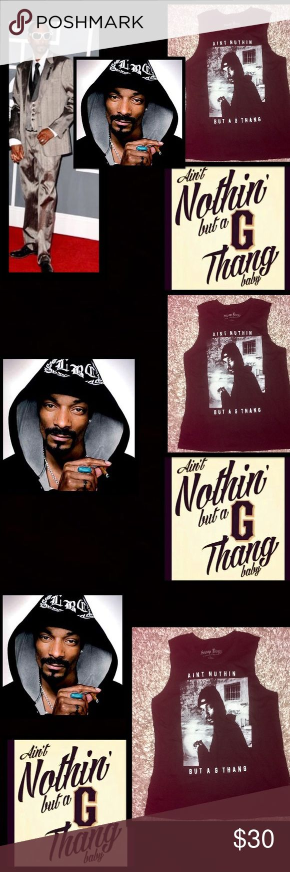 """🆕Spanky Clothing• Snoop Dogg•G Thang Tank Cordozar Calvin Broadus Jr.(born October 20, 1971)AKA  Official Snoop Dogg Tha Doggfather Spanky's Clothing Licensed Black tank too•""""Aint Nothing But A G Thang"""" One, two,three and to the four,Snoop Doggy Dogg and Dr. Dre is at the doorReady to make an entrance, so back on up('Cause you know we're about to rip shit up)Give me the microphone first so I can bust,like a bubble,Compton & Long Beach together Now you know you're in trouble""""Ain't nothing…"""