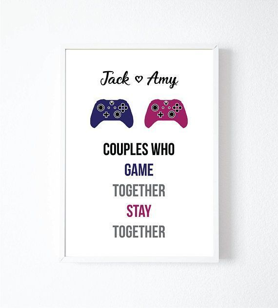 Gamer Gifts | Gamer Couple | Personalised Gift | Gaming Poster | Gaming Art | Gaming Print | Gamer Room Decor | Gaming Room | XBOX ONE – – #DiyGamer -…