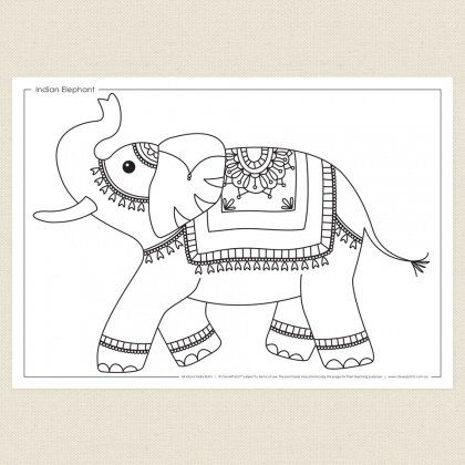childrens colouring in activity indian elephant colouring sheet cleverpatch