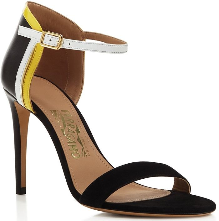 Salvatore Ferragamo Color Block Ankle Strap Sandals