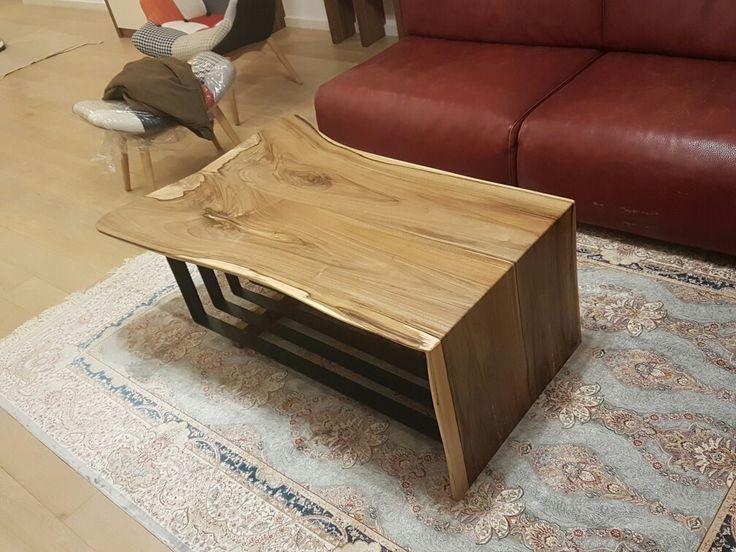 Wallnut and steel coffee table